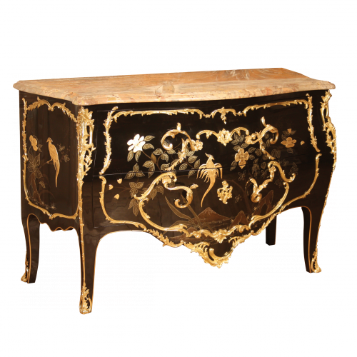 Chest of drawers Delorme black Chinese lacquering
